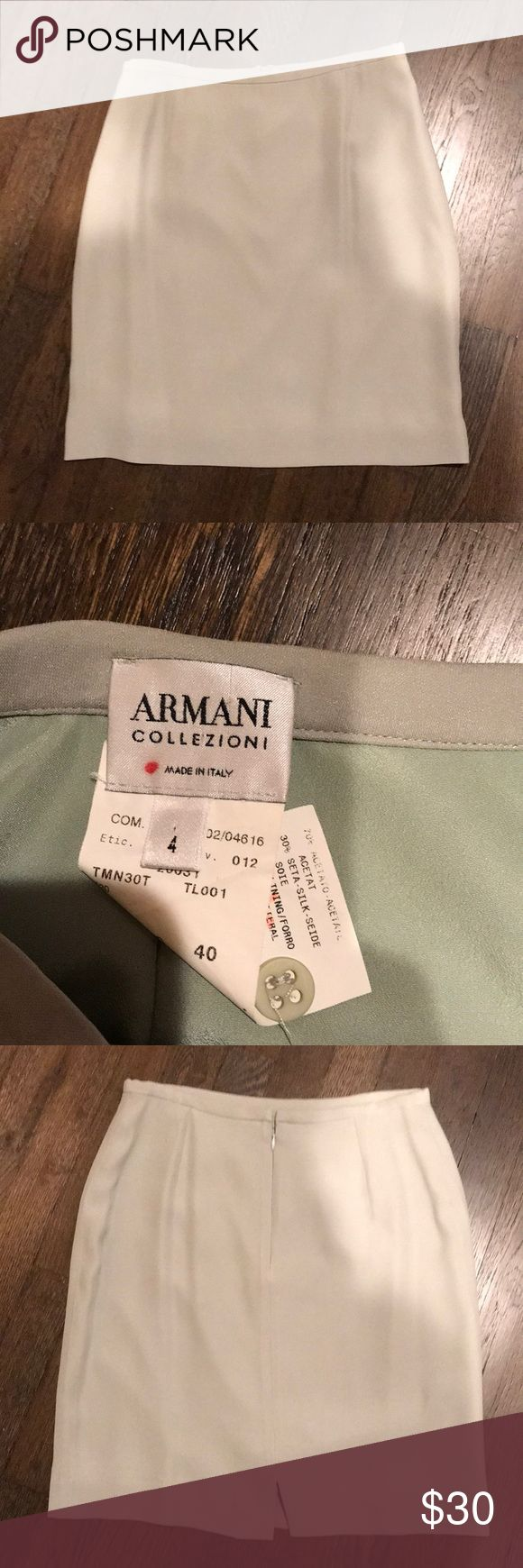 Armani Collezioni skirt Made in Italy. Sage green skirt. 70% Acetat 30% silk Check out my Kay Unger jacket that matches. Armani Collezioni Skirts Mini