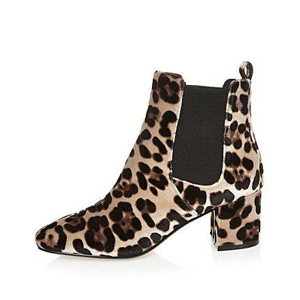 Brown leopard print velvet Chelsea boots £40.00
