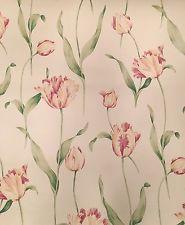 Waverly Wallpaper Pink White Tulips 3 Double Rolls New Pattern 5504212 Run 01