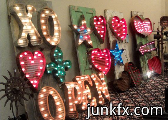 24+inch+Recycled+Vintage+Barn+Tin+Metal+Lighted+Marquee+by+Junkfx,+$200.00