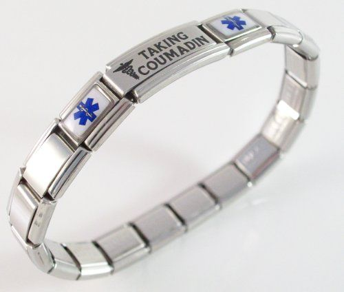 Taking Coumadin Blood Thinners Medical ID Alert Italian Charm Bracelet | Your #1 Source for Jewelry and Accessories