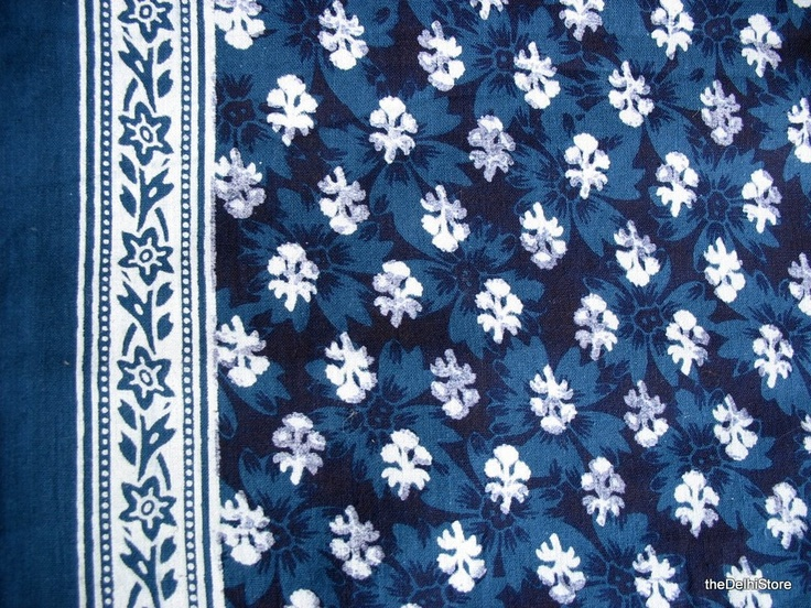 Navy Blue and White - Indian Fabric - Quilting Cotton Fabric - Block Printed Border Fabric -  By Yard. $12.00, via Etsy.