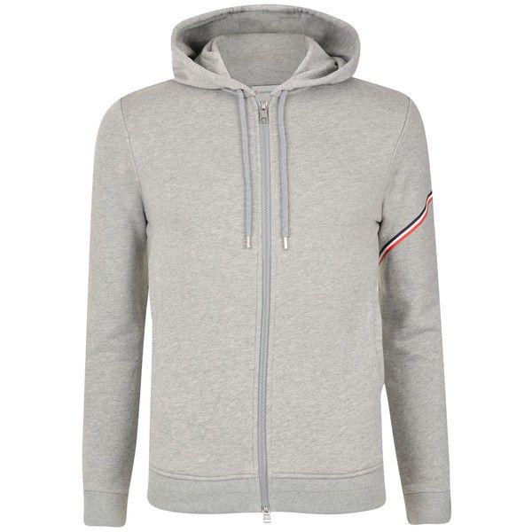 MONCLER Web Sleeved Sweatshirt (1.075 BRL) ❤ liked on Polyvore featuring men's fashion, men's clothing, men's hoodies, men's sweatshirts, grey, men…