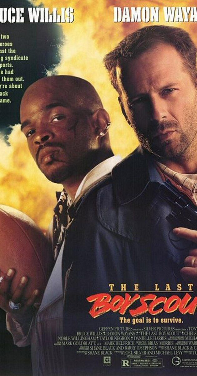 Directed by Tony Scott.  With Bruce Willis, Damon Wayans, Chelsea Field, Noble Willingham. A down and out cynical detective teams up with a down and out ex-quarterback to try and solve a murder case involving a pro football team and a politician.