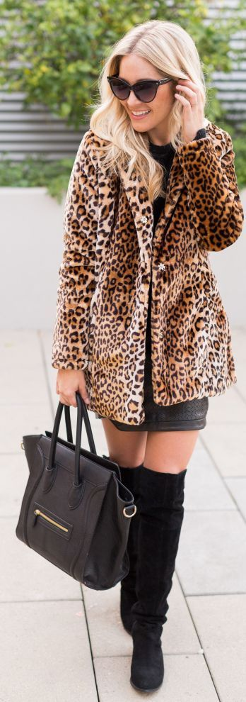 Chic In The City- Leopard Faux Fur Coat- #LadyLuxuryDesigns