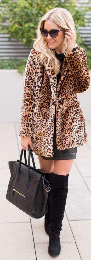 Chic In The City- Leopard Faux Fur Coat- #LadyLuxuryDesigns