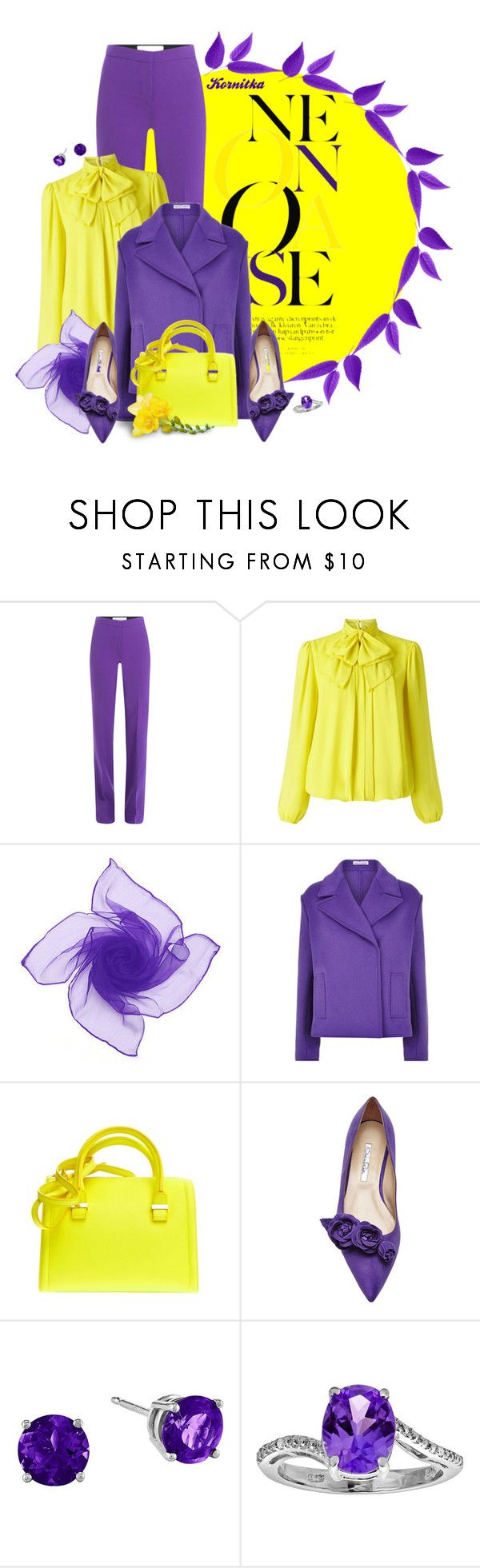 """""""nr 1821 / Bold and Beautiful"""" by kornitka ❤ liked on Polyvore featuring Victoria, Victoria Beckham, Somerset by Alice Temperley, Tomas Maier, Victoria Beckham, Oscar de la Renta, neon, bold and yellowandpurple"""