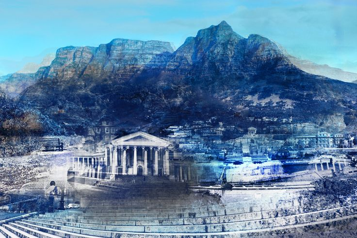 Bespoke digital and hand-textured Cape Town cityscape artwork by Janet Botes for one of our corporate customers.