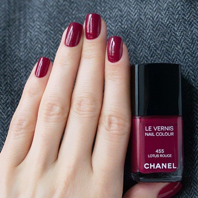 chanel nail polish - 455 Lotus Rouge. This is the colour of my dreams. I want a hundred of these bottles so I could have my nails this colour for the rest of my life