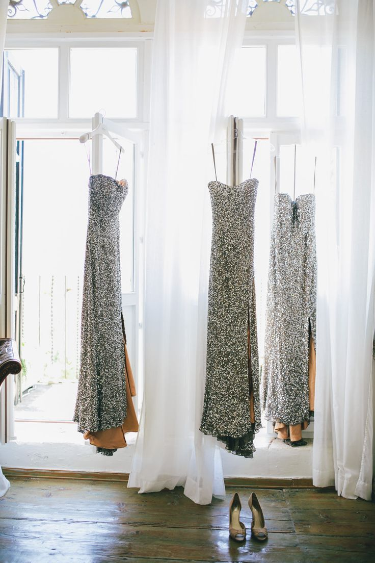 Metallic bridesmaids' dresses | Photography: Yann Audic - lifestorieswedding.com  Read More: http://www.stylemepretty.com/destination-weddings/2014/10/07/beachside-wedding-in-croatia/