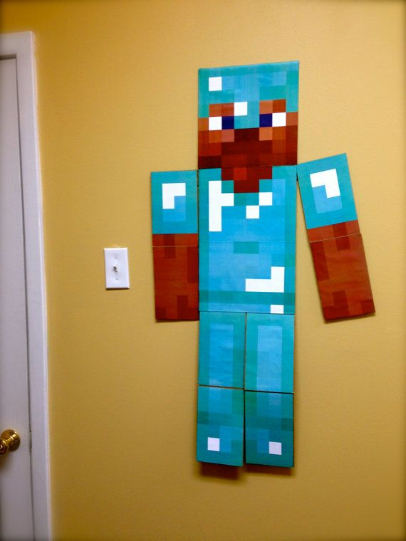 Wall Decorations Minecraft : Minecraft wall art life size characters for your kid s
