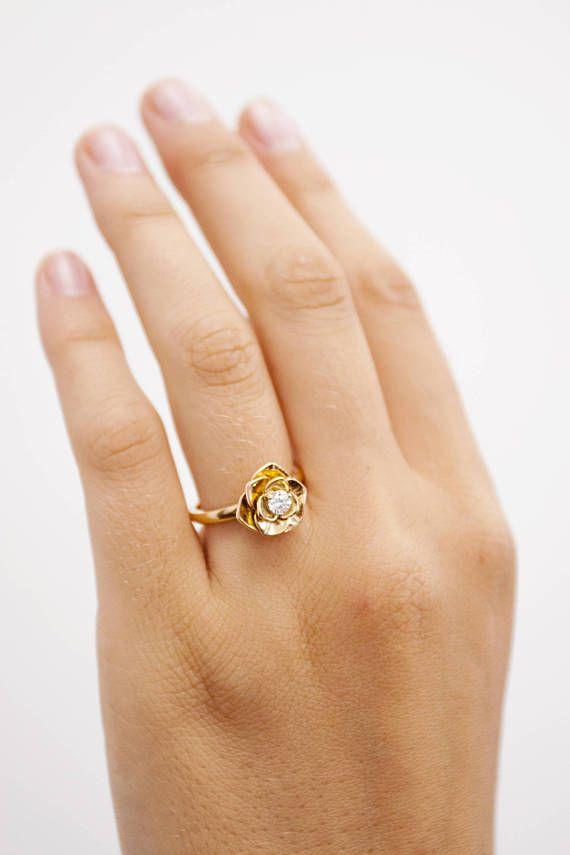 Rose diamond engagement ringFlower diamond ring18k Petals