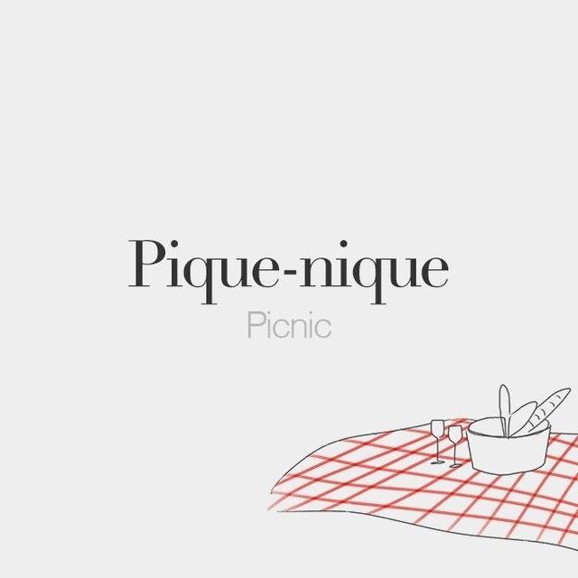 French | Pronounced like the english | Pique-nique (masculine word) | Picnic | /pik.nik/ Drawing: @beaubonjoli.