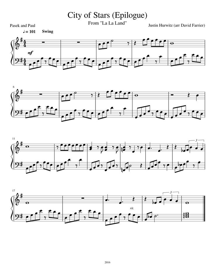 La La Land — City of Stars Download PDF Piano Sheet Music
