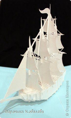 Открытка День рождения Вырезание Киригами pop-up Корабль + схема Бумага фото 5