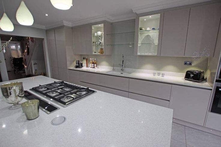 Floating Kitchen Island Design - High gloss Cashmere kitchen with island - Discover more at www.lwk-home.com