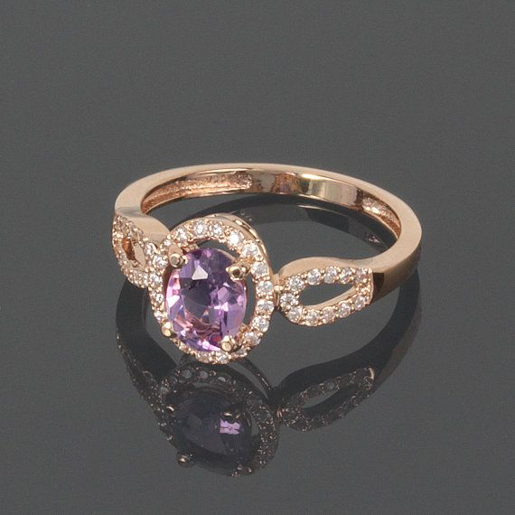 Anillo de amatista oro anillo amatista Birthstone anillo