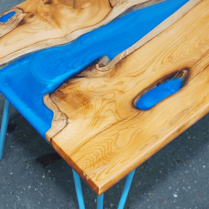 live edge yew wood u blue resin river coffee table thumbnail