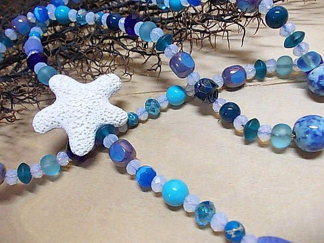 Summer necklace@lava starfish#beads@blue#summer love#summer style