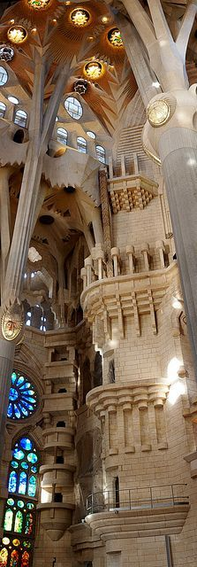 La Sagrada Familia. Antoni Gaudi. Barcelona, Spain. Gaudi started work on the project in 1883. Building still under construction. (Est. completion 2026)..