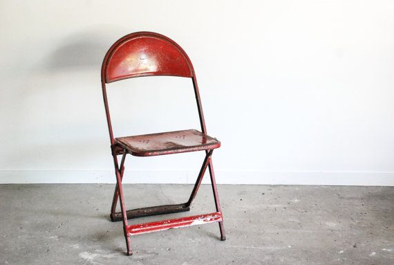 metal chair, folding chair, outdoor furniture, shaped seat, gorgeous deep red color, beautiful patina, industrial, farmhouse, vintage