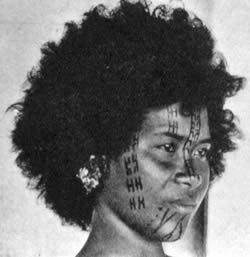 Motu woman from the Central Province with tribal facial tattoos. Picture taken 1915 #PapuaNewGuinea