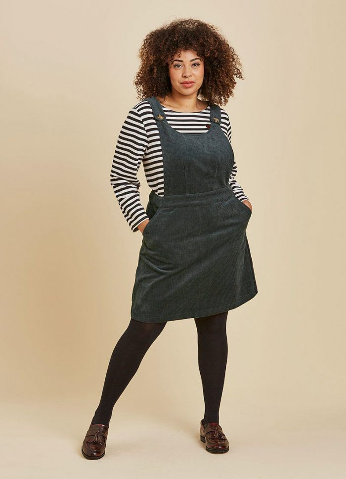 buying new huge sale exclusive deals Apron Cord Pinafore Dress - Green in 2019 | Work Wear | Cord ...