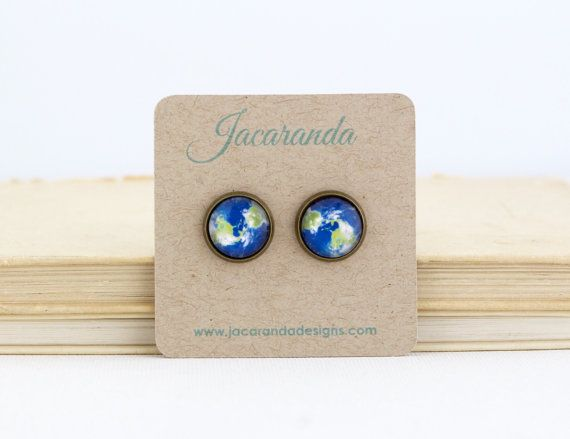 Planet Earth Earrings - Gift For The Avid Traveler Explorer - Stud Earrings - View of Earth - Map Jewelry - Green and Blue - Gift For Woman…