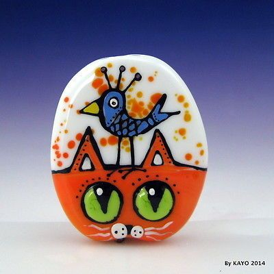 """Birds of A Feather"" Bykayo A Handmade Cat Bird Lampwork Glass Focal Bead SRA 