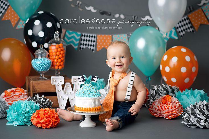 boy cake smash black orange turquoise gray candy caralee case