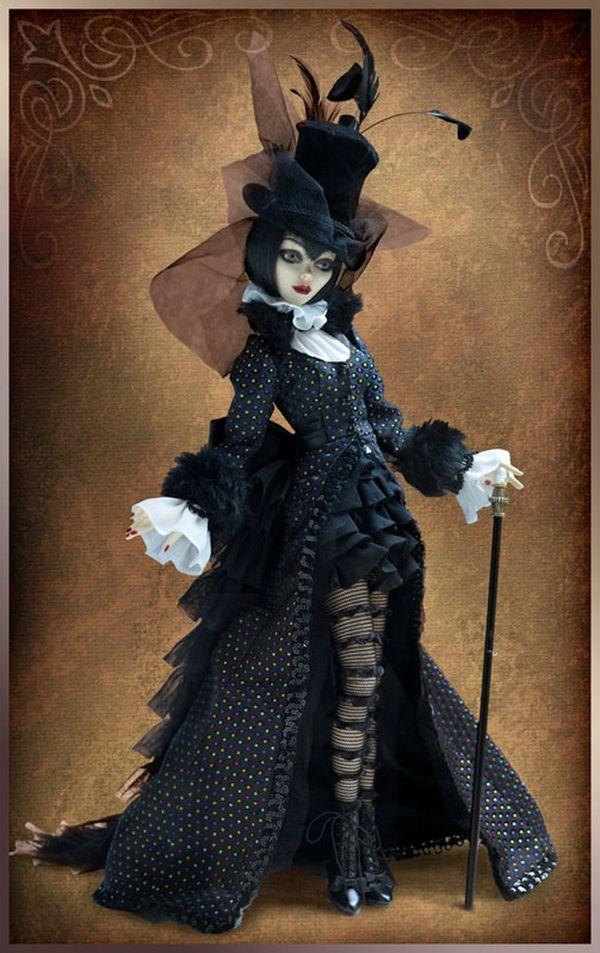 goth-y doll, Victorian-y outfit