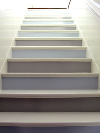 beautiful & soothing gray and blue risers, pale gray treads in a sunny staircase. Quite stairs