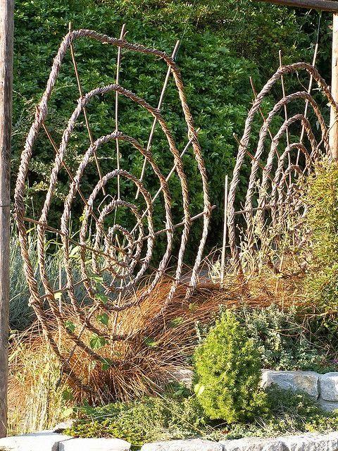 Woven spiral garden structures | Backyards