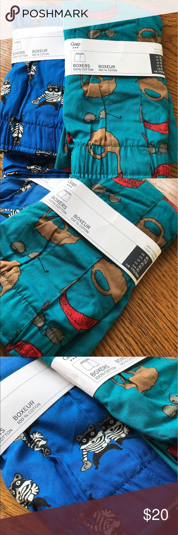 NWT! Men's Gap boxers NWT! Adorable men's boxers bundle. Features 2 pairs, adorable print, size XL. 100% cotton. GAP Underwear & Socks Boxers