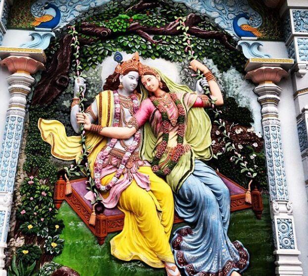 Detailed artwork outside of Radha Madhav Dham