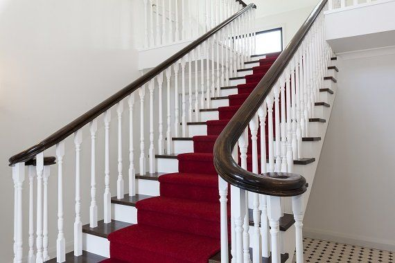 Feature wooden stair in Christchurch with turned wooden balustrades