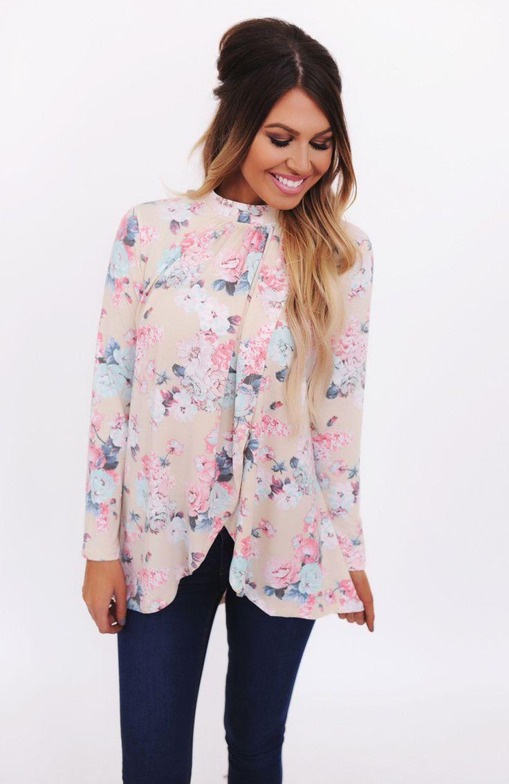 Long Sleeve Floral Print High Neck Top - Dottie Couture Boutique