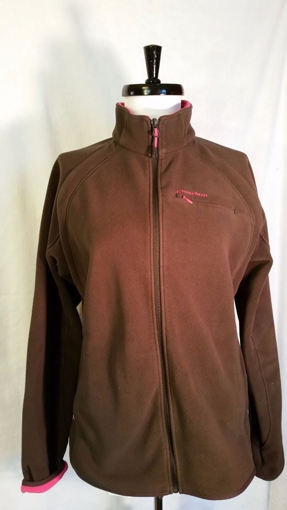 Quechua Women's Athletic Jacket Soft Zip Up DECATHLON Creation Brown Pink Size M #Decathloncreation #FleeceJacket