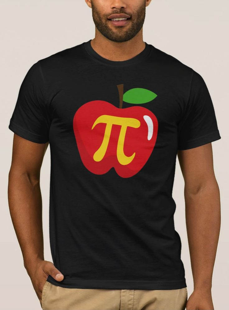 Red apple pie pi symbol T-Shirt. Dark tee shirt featuring a red cartoon apple with a yellow pi symbol.