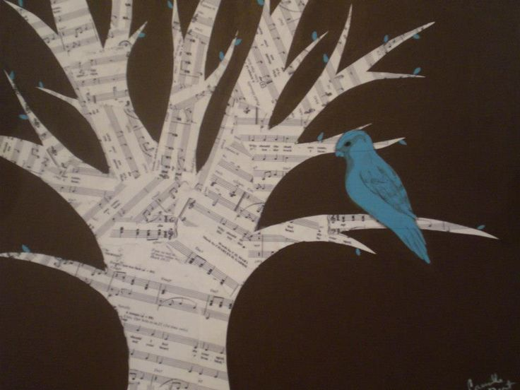 "Painting inspired by the hymn ""His Eye is on the Sparrow."" Actual sheet music for the song used to makes the tree! Camille Dent, November 2012."