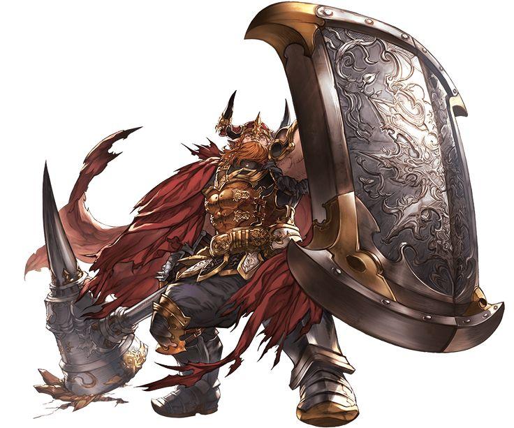 1boy armor armored_boots beard belt boots cape facial_hair galadar gloves granblue_fantasy hammer helmet horns minaba_hideo orange_eyes orange_hair rock shield transparent_background
