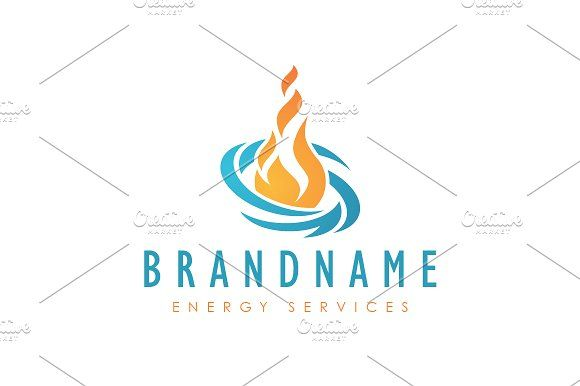 For sale. Only $29 - blue, orange, memorable, abstract, simple, element, force, energy, power, oil, gas, fire, burn, heat, warm, wind, vortex, water, extinguish, collaboration, change, shift, rotation, circulation, flame, transformation, process, logo, design, template,
