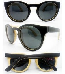 Retro two tone bamboo polarized sunglasses