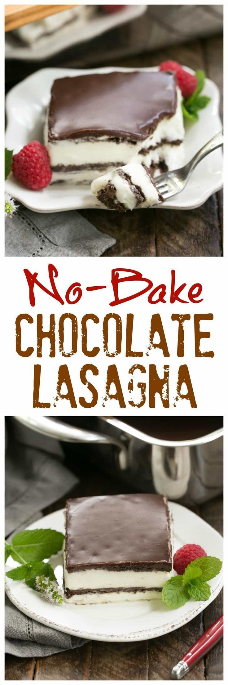 No Bake Chocolate Lasagna | A decadent layered dessert with chocolate graham crackers, creamy custard, chocolate ganache and no Cool Whip or oven needed! #desserts #nobake