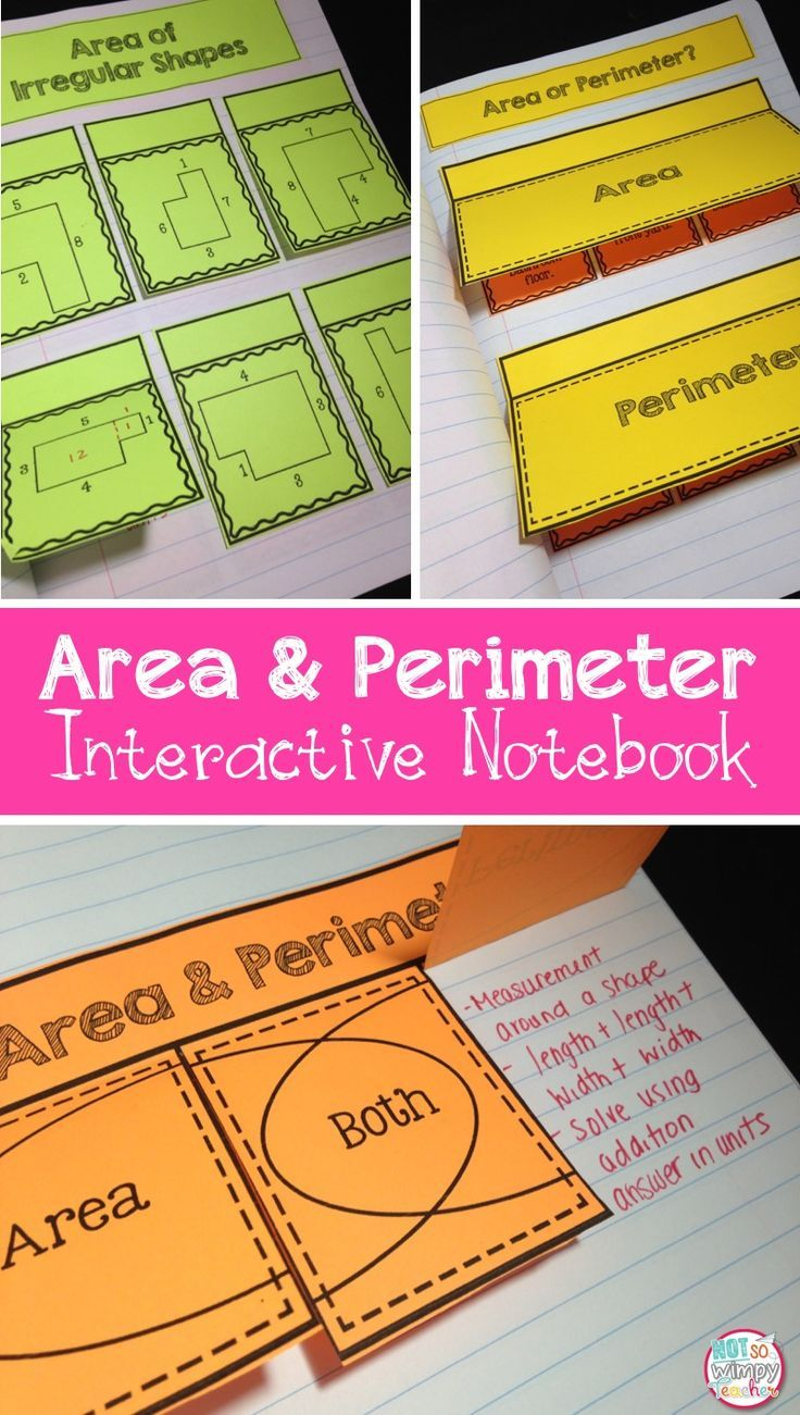 Area and Perimeter Interactive Notebook. An engaging way to help students learn and practice area and perimeter skills. Great for math centers.