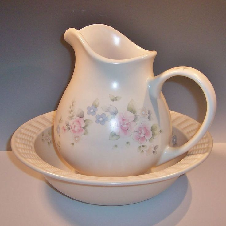 pfaltzgraff tea rose large bowl u0026 pitcher