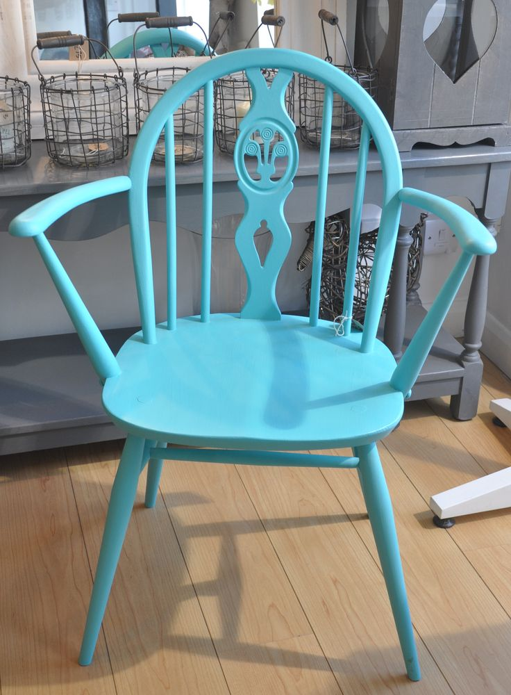 Ercol carver chair given a makeover in Autentico's 'bright turquoise'.