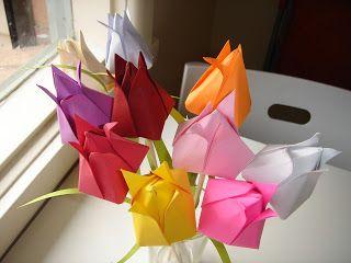 """Как сделать тюльпан оригами маме к 8 марта? Схема оригами из бумаги """"Тюльпан"""". ~ КАРАПУЗОВЕДЕНИЕ"""