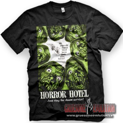 Shirt from the 1960s movie Horror Hotel, with the movie poster cover and logo above the phrase
