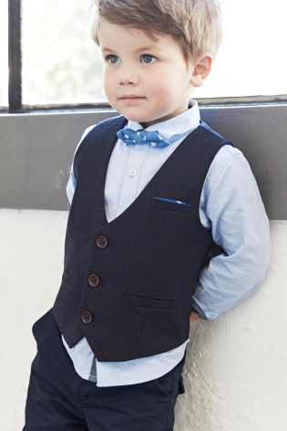 Buy Navy Waistcoat Shirt And Bow Tie Set 3mths 6yrs
